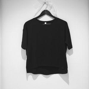 Lululemon Athletica black hi low soft black top